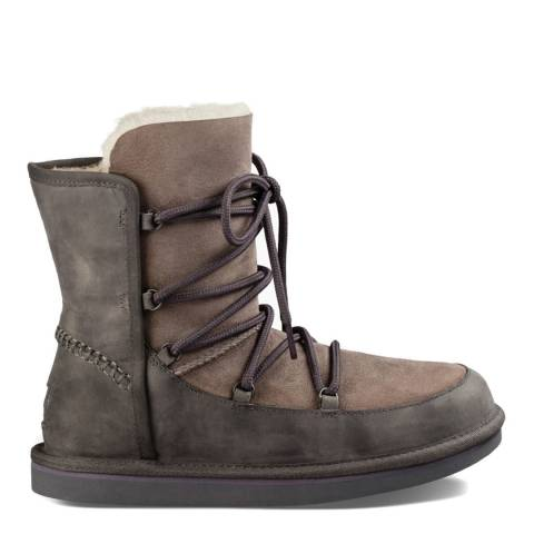 UGG Womens Grey Leather Lodge Boots