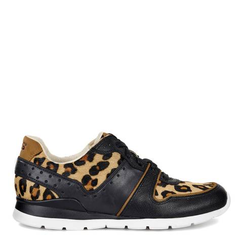 UGG Womens Black Leopard Leather/Calf Hair Deaven Trainers