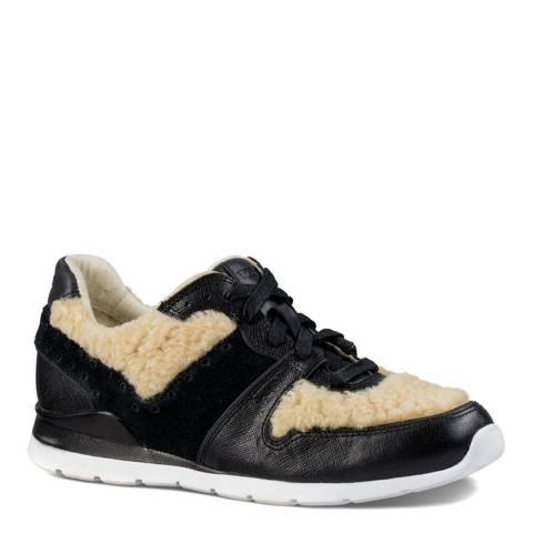 UGG Womens Black/Beige Leather/Wool Deaven Trainers