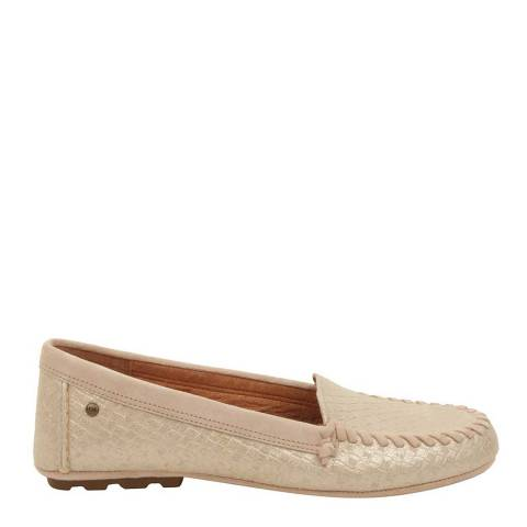 UGG Womens Soft Gold Dari Metallic Basket Flats