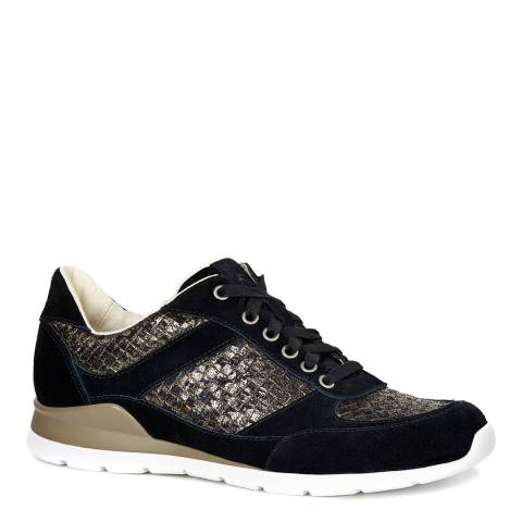 UGG Womens Black/Gold Suede Avelyn Metallic Basket Trainers