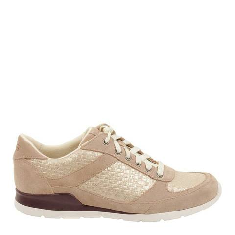 UGG Womens Nude/Gold Leather Avelyn Metallic Basket Trainers