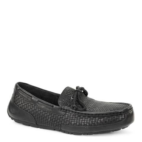 UGG Mens Black Woven Leather Chester Loafer