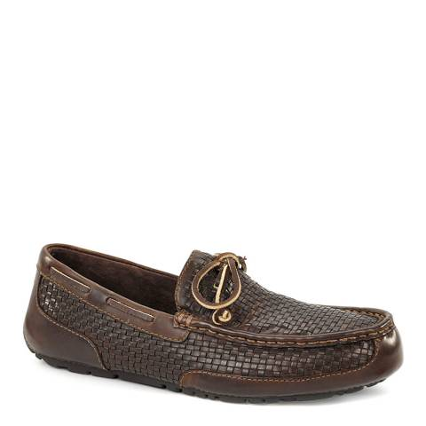 UGG Mens Brown Woven Leather Chester Loafer