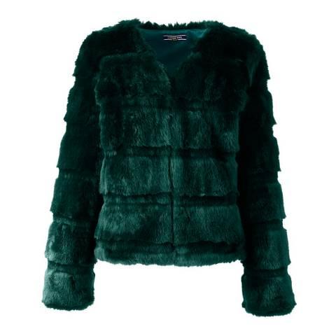 Lands End Forest Green Faux Fur Jacket