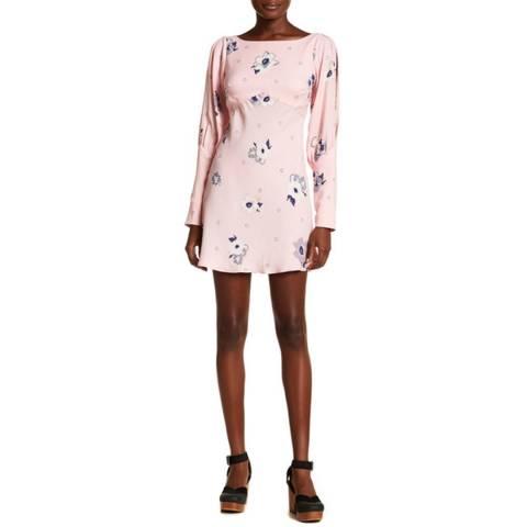 Free People Pink Combo Sunshadows Mini Dress