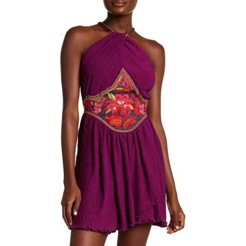 Free People Dark Purple Marcella Mini Dress