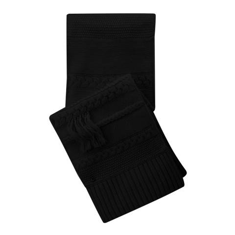 UGG Women's Black Cable Fringe Scarf