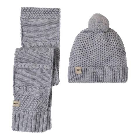 UGG Girl's Grey Novelty Beanie & Scarf Boxed Set