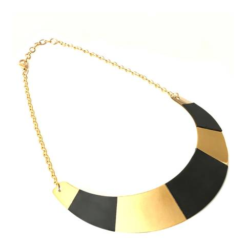 Chloe Collection by Liv Oliver Gold and Leather Collar Necklace