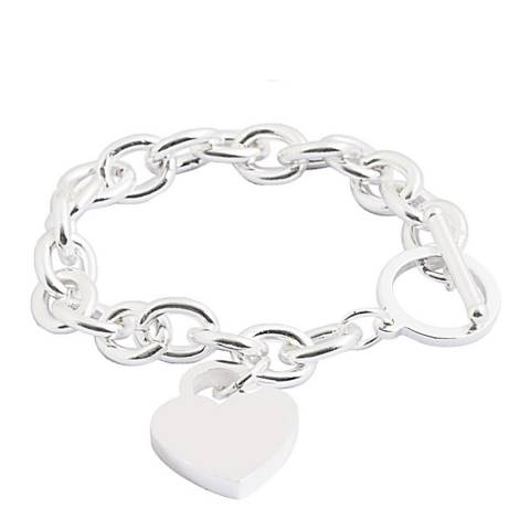 Chloe by Liv Oliver Silver Heart Charm Bracelet