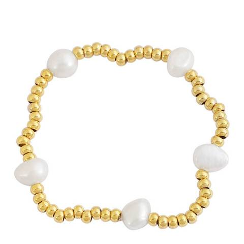 Chloe Collection by Liv Oliver Gold Pearl Bracelet