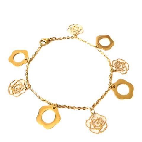 Chloe Collection by Liv Oliver Gold Clover and Rose Charm Bracelet