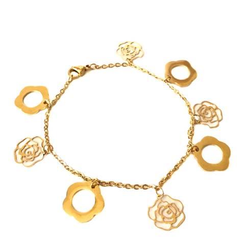 Chloe by Liv Oliver Gold Clover and Rose Charm Bracelet