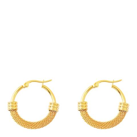 Chloe Collection by Liv Oliver Gold Mesh And Polished Hoop Earrings