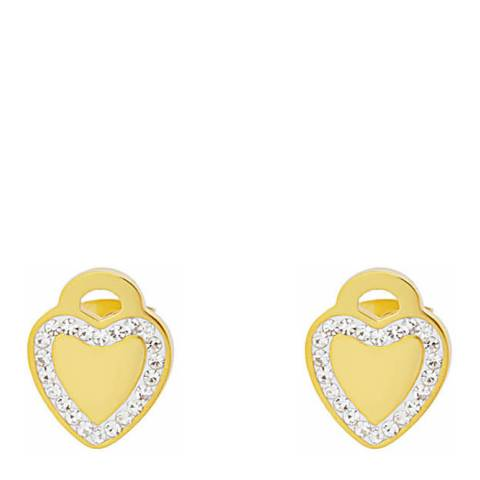 Chloe Collection by Liv Oliver Gold Heart Crystal Earrings