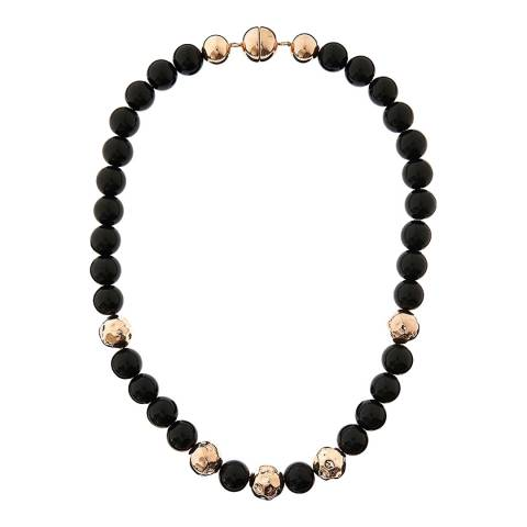 Chloe Collection by Liv Oliver Rose Gold Onyx Necklace