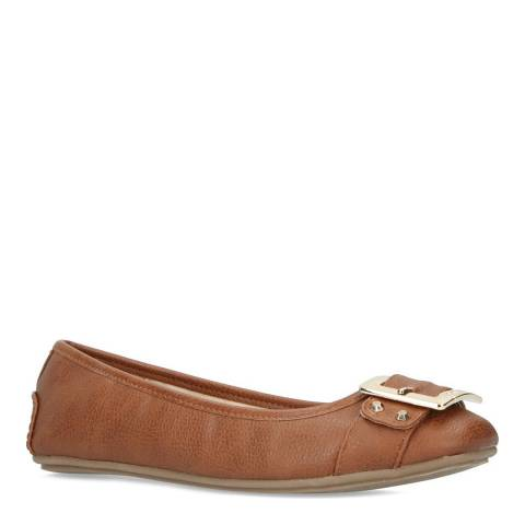 Carvela Tan Mission Buckle Ballerina Pumps