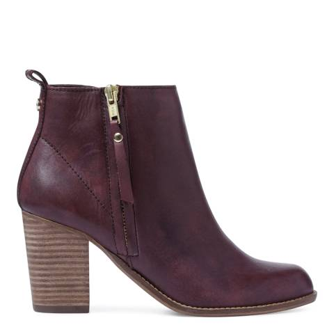 Carvela Wine Leather Tanga Ankle Boots