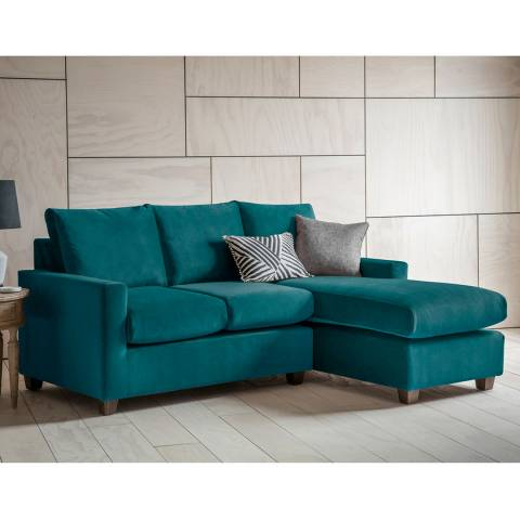 Gallery Stratford Left Hand Chaise Sofa in Brussels Petrol