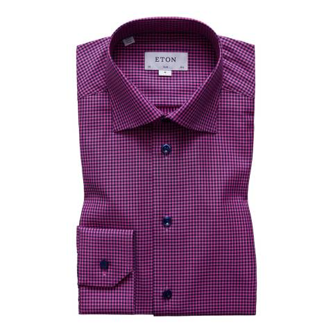 Eton Shirts Purple/Black Check Cotton Slim Fit Shirt