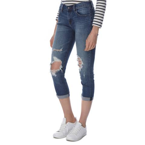 J Brand Destruct Blue Sadey Slim Straight Cropped Jeans