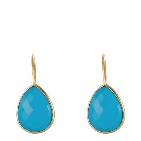 Liv Oliver Gold Turquoise Pear Drop Earrings