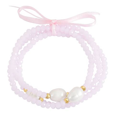 Liv Oliver Gold Pink Quartz and Pearl Bracelet Set