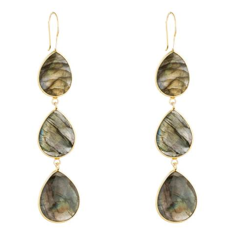 Liv Oliver Gold Labradorite Drop Earrings