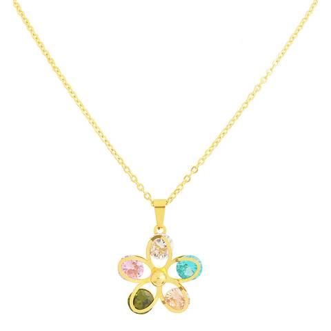 Liv Oliver Gold Gemstone Daisy Necklace