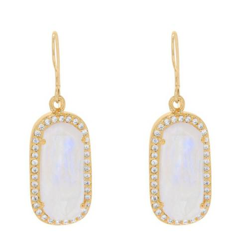 Liv Oliver Gold Moonstone Zirconia Emerald Cut Earrings