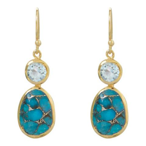 Liv Oliver Gold/Blue Topaz and Turquoise Drop Earrings