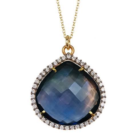 Liv Oliver Gold Blue Quartz Cz Pear Drop Necklace