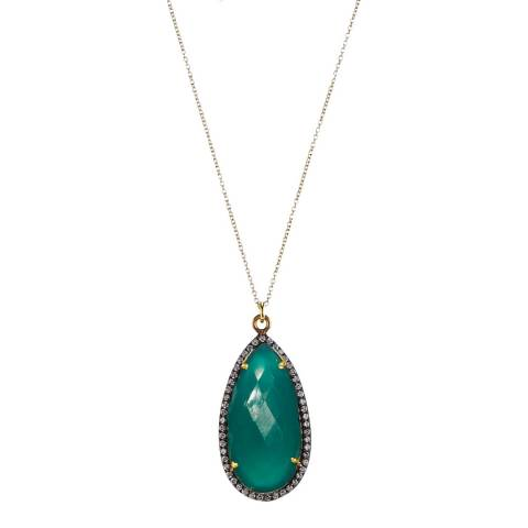 Liv Oliver Gold Green Onyx  Cz Pear Drop Necklace