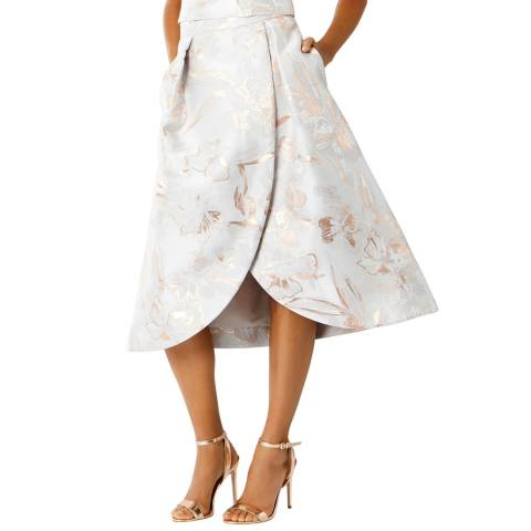 Coast Pale Grey Blake Metallic Jacquard Skirt
