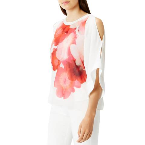 Coast White/Poppy Red Keiko Print Cold Shoulder Top