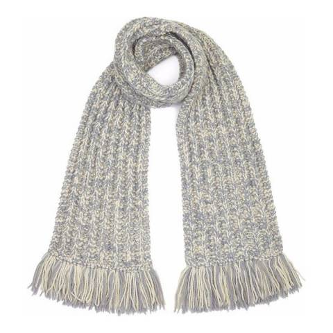 PARKA LONDON Women's Cream/Grey Elmston Chunky Hand Knitted Scarf