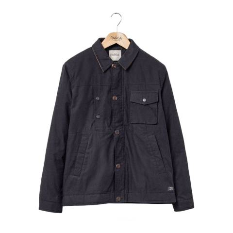 PARKA LONDON Men's Black Alfie Cord Collar Jacket