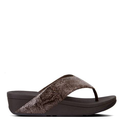FitFlop Metallic Chocolate Leather Swoop Toe Thong Sandals