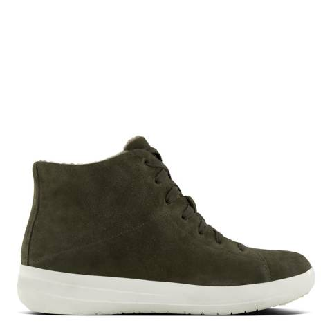 FitFlop Camo Green Suede F-Sporty Sneakerboots With Shearling