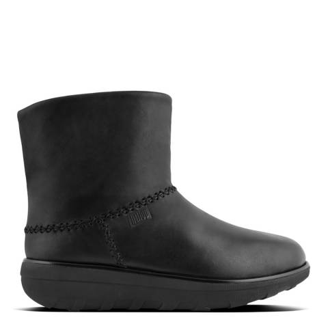 FitFlop Black Leather Shorty II Mukluk Boots