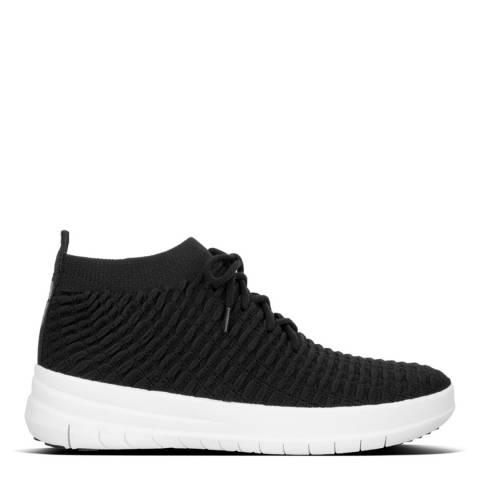 FitFlop Black Uberknit Slip On High Top Sneakers in Waffle Knit