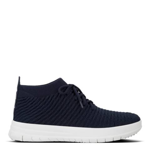 FitFlop Midnight Navy Uberknit Slip On High Top Sneakers in Waffle Knit