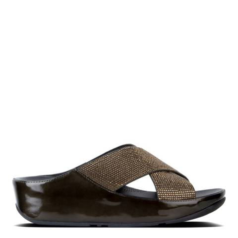 FitFlop Metallic Olive Microfibre Crystall Slide
