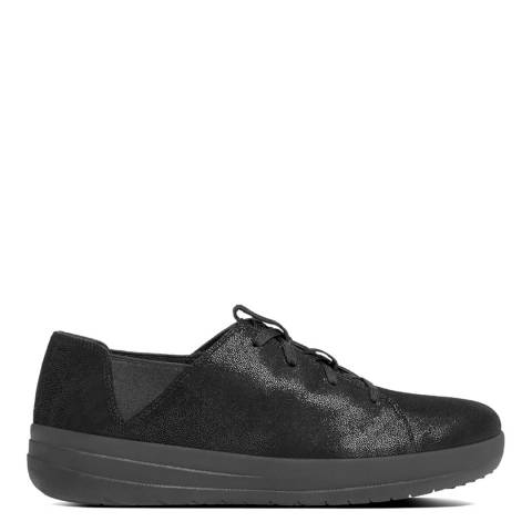 FitFlop Black Glimmer Suede F-Sporty Lace Up Sneaker