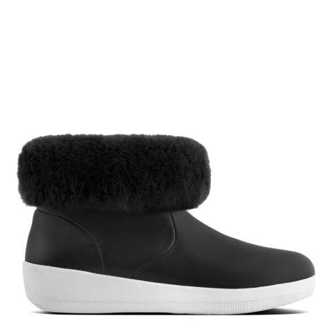 FitFlop Black Leather Skatebootie With Shearling