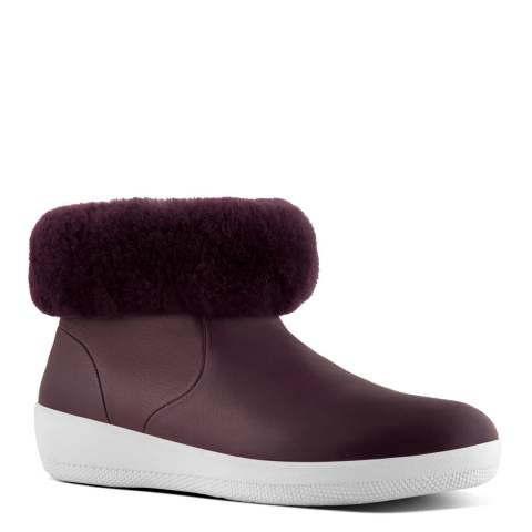 FitFlop Deep Plum Leather Skatebootie With Shearling