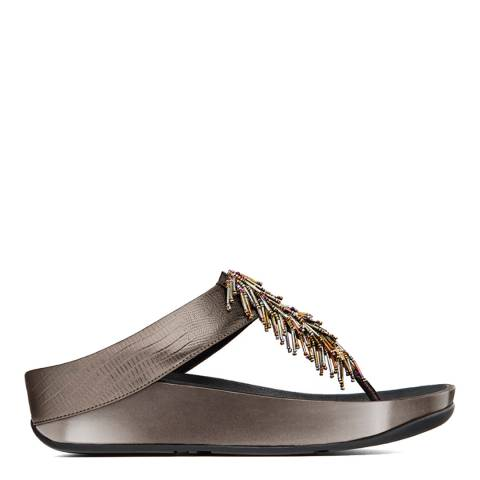 FitFlop Nimbus Silver Leather Cha Cha Toe Thong Sandals