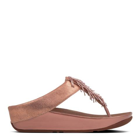 FitFlop Rose Gold Leather Cha Cha Toe Thong Sandals