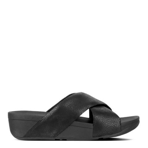 FitFlop Black Leather Swoop Slide Sandals